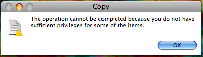 Copy: The operation cannot be completed because you do not have sufficient privileges for some of the items.