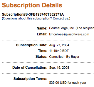 Screenshot of my cancelled SourceForge subscription, today.