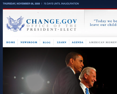 change.gov website screenshot