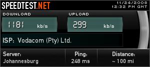 Vodacom 3G speed test at Sun City