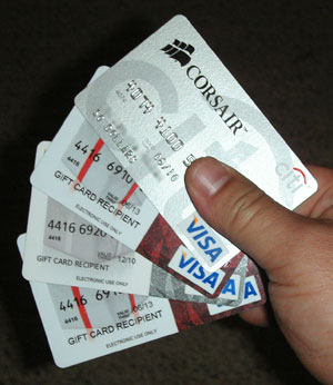 Handful of Visa cards.