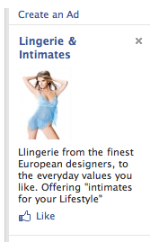 Facebook ad: Lingerie & Intimates