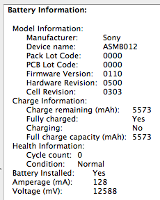 Screenshot of System Profile battery info.