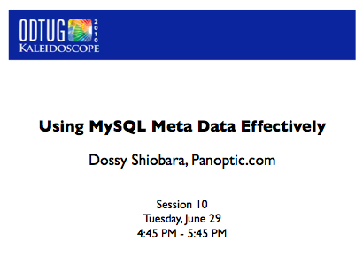 Using MySQL Meta Data Effectively - title slide thumbnail